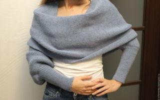 Изучаем процесс вязания шарфа трансформера спицами