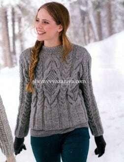 Вяжем спицами свитер с косами по схемам и подробным описаниям