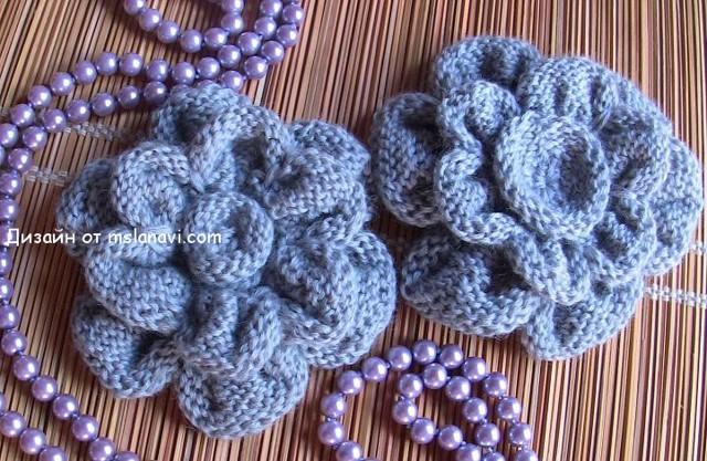 Вязаные цветы спицами: фото с описанием