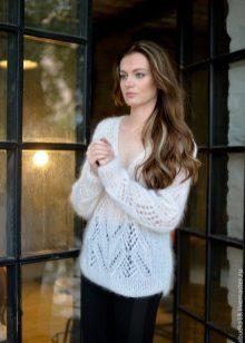 Вязание свитера из мохера по фото и видео мастер-классу