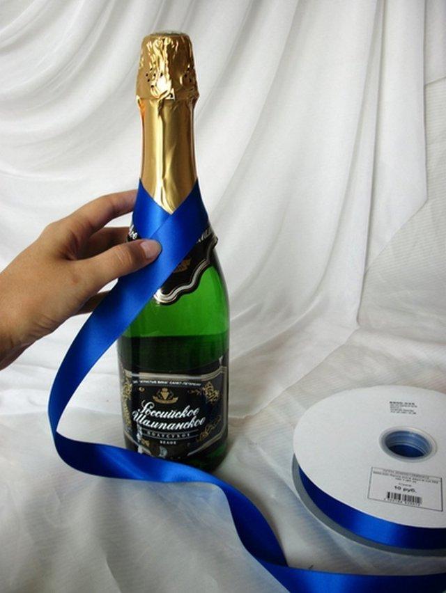 Мастер класс украшение бутылок лентами (фото и видео)