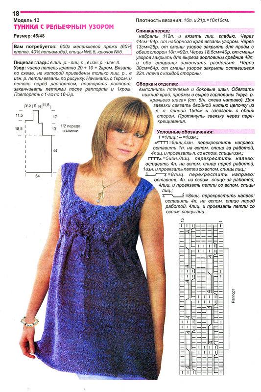 Туника женская с описанием и схемами