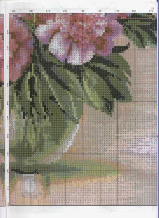 Вышивка пионы крестом на основании схем и пошагового описания процесса