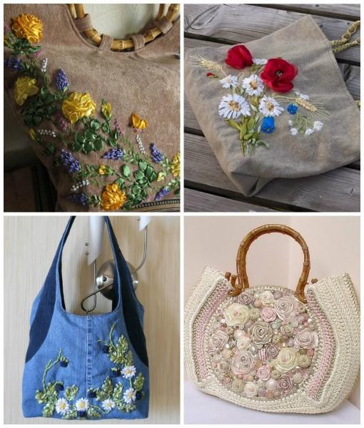 Вышитые сумки лентами с фото примерами