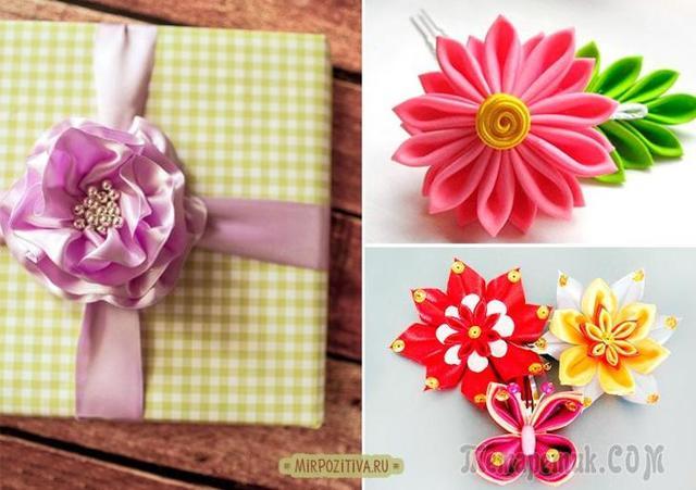Цветы из атласных лент своими руками (фото и видео)