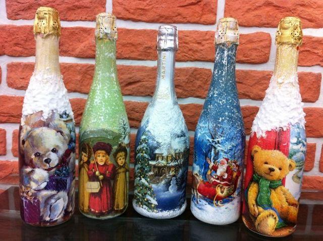 Декупаж бутылок для начинающих в обучающих уроках