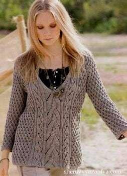 Джемпер вязаный спицами женский: модель с ажурными листьями