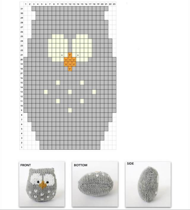 Узор сова вязаный спицами по схеме с описанием и видео уроком