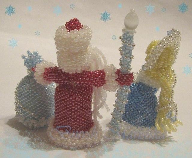 Дед мороз из бисера, снеговик и снегурочка своими руками