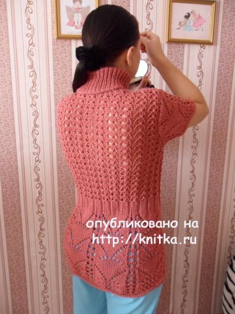 Ажурный женский жилет спицами в видео и фото уроках со схемами