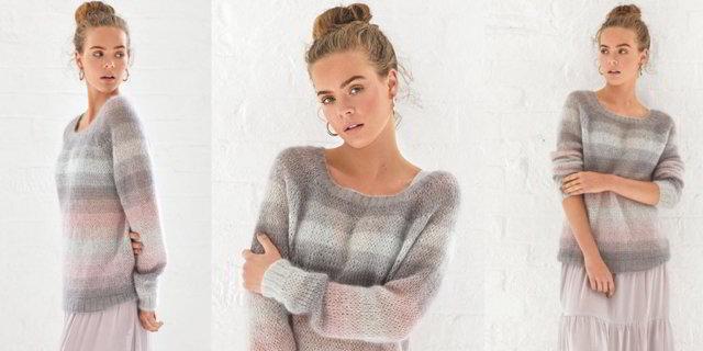 Пуловер спицами из мохера для женщин вяжем по схеме с подробным описанием