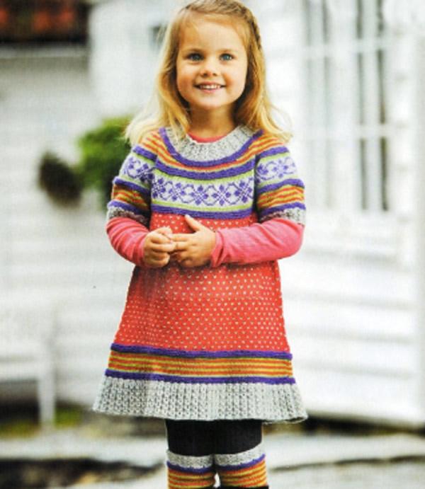 Платье спицами для малышки по схеме и фото-видео мастер-классу