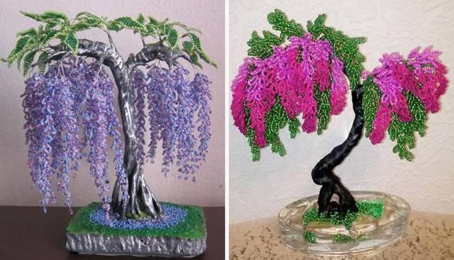 Глициния из бисера: плетем розовое дерево (фото и видео)