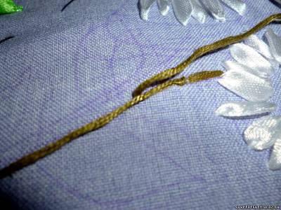 Вышивка лентами ромашки по фото и вилео мастер-классу для начинающих