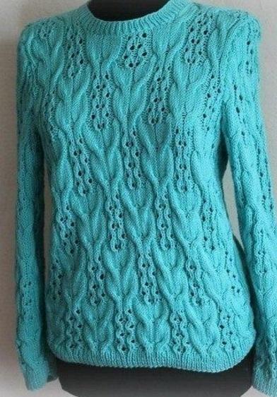 Женский пуловер спицами с разнообразными узорами (схемы)