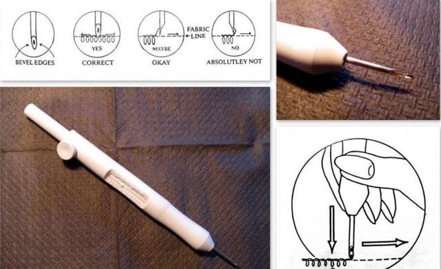 Ковровая техника вышивания с помощью иголки и крючка