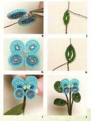 Анютины глазки из бисера плетение по схеме и фото мастер-классу
