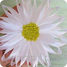 Канзаши ромашка: простой цветок своими руками (фото и видео)