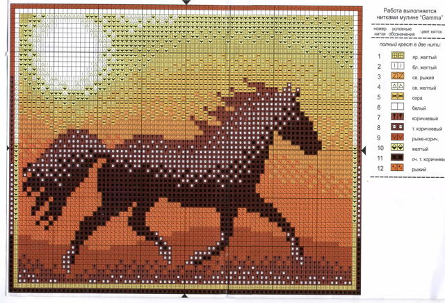 Вышивка крестом лошади по схеме с фото и видео описанием