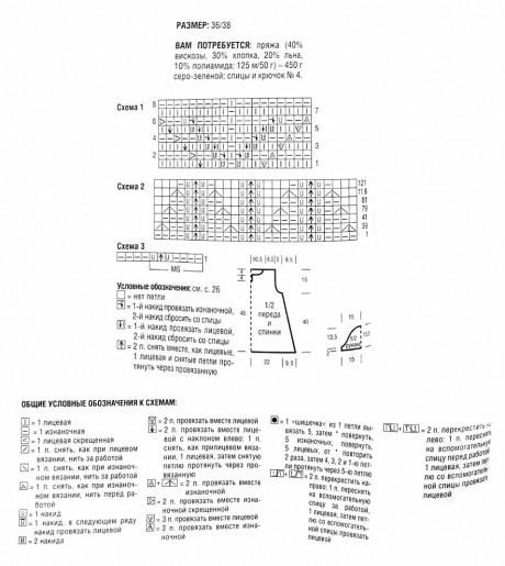 Ажурная туника спицами со схемами и подробным описанием работы