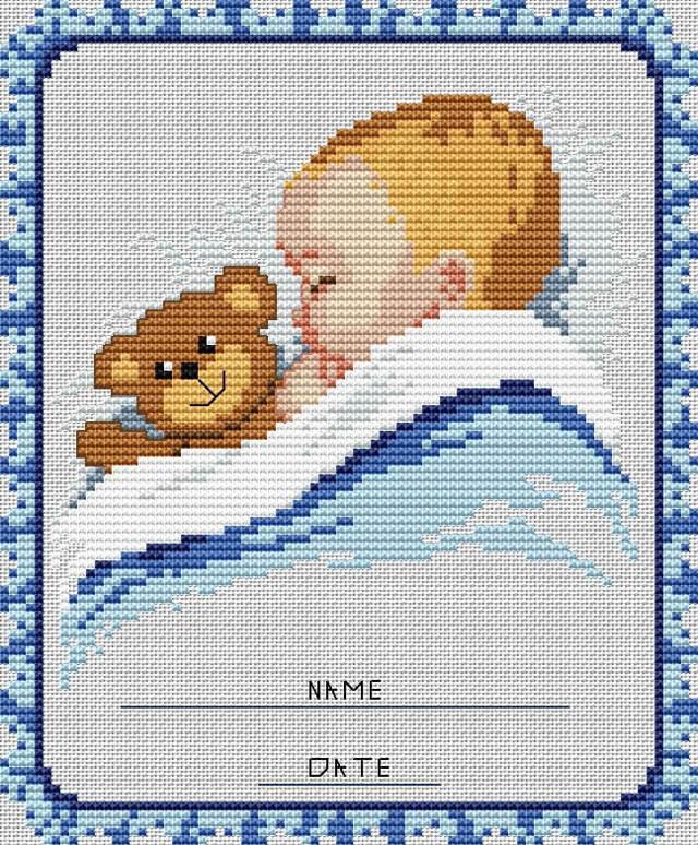 Метрики для новорожденных схемы вышивки младенцев
