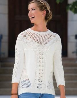 Ажурный женский свитер вязаный спицами по схеме с описанием и видео мастер-класом