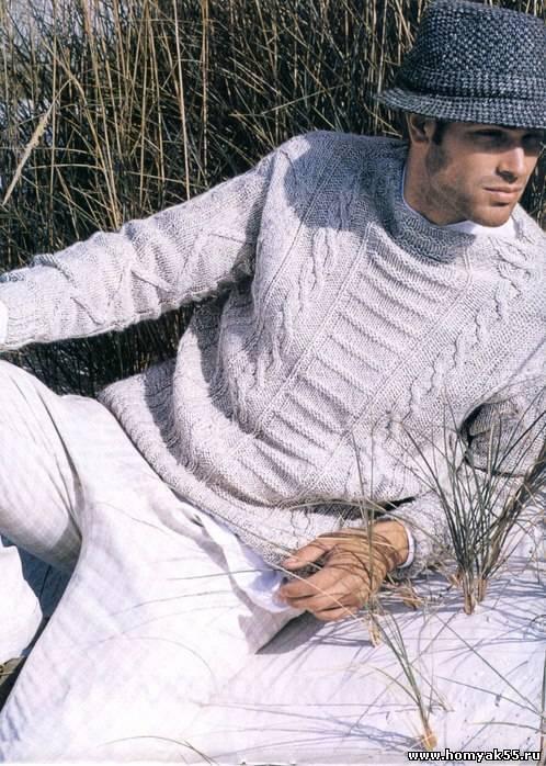 Вяжем мужской джемпер спицами по схемам и описанием работы