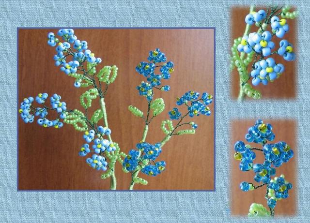 Незабудка из бисера по фото мастер-классам и схемы для плетения цветка