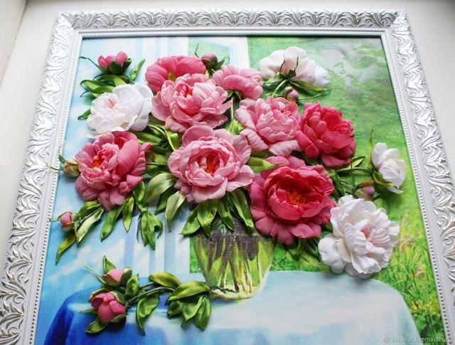 Картины и панно из лент своими руками (фото и видео)